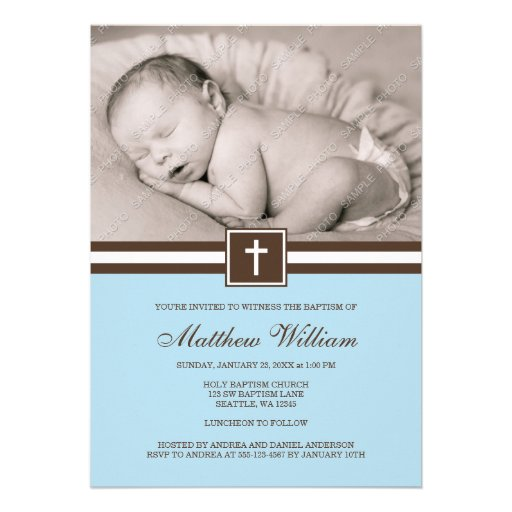 Blue and Brown Cross Boy Photo Baptism Personalized Announcement