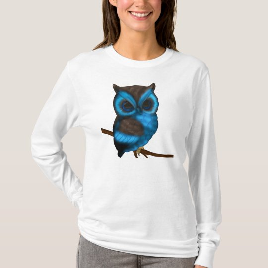 Blue And Brown Cute Owl On Branch Ladies Top