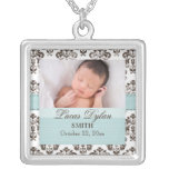Blue and Brown Damask Baby Photo Necklace