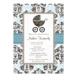 Blue and Brown Damask Baby Shower Invitations