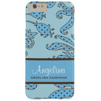 Blue and Brown Floral Retro Custom Barely There iPhone 6 Plus Case