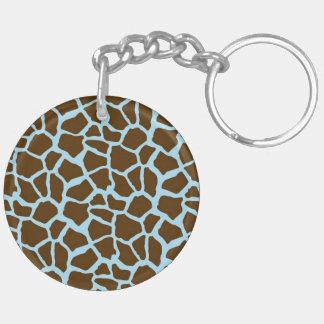 Blue and Brown Giraffe Animal Print Acrylic Key Chains