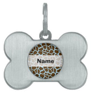 Blue and Brown Giraffe Animal Print Pet ID Tag