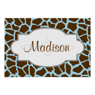 Blue and Brown Giraffe Animal Print