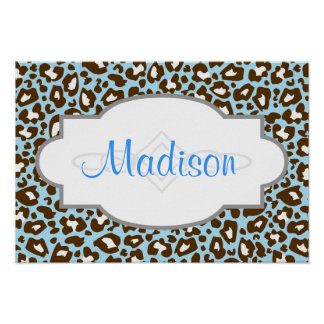 Blue and Brown Leopard Spotted Animal Print