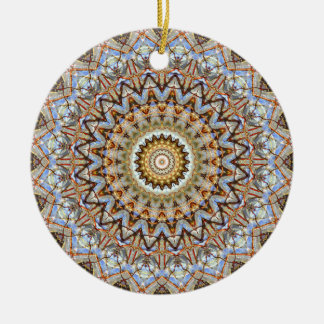 Blue and Brown Mandala Art Round Ceramic Decoration
