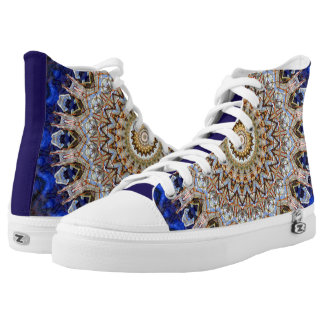 Blue and Brown Mandala Kaleidoscope Printed Shoes