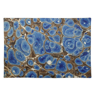 Blue and Brown Marbleized Paper Place Mats
