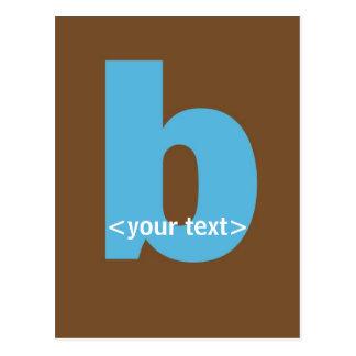 Blue and Brown Monogram - Letter B Postcard