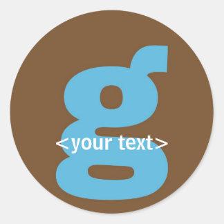 Blue and Brown Monogram - Letter G Round Sticker