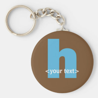 Blue and Brown Monogram - Letter H Basic Round Button Key Ring