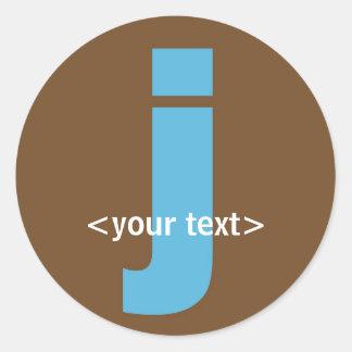 Blue and Brown Monogram - Letter J Round Sticker