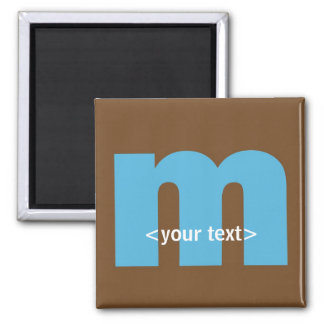 Blue and Brown Monogram - Letter M Square Magnet