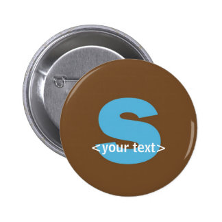 Blue and Brown Monogram - Letter S Pinback Buttons
