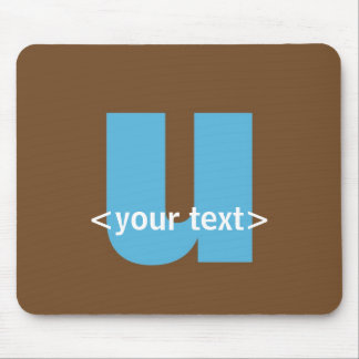 Blue and Brown Monogram - Letter U Mouse Mats