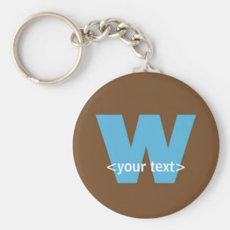 Blue and Brown Monogram - Letter W Basic Round Button Key Ring