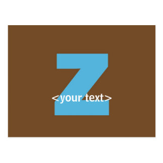 Blue and Brown Monogram - Letter Z Postcard