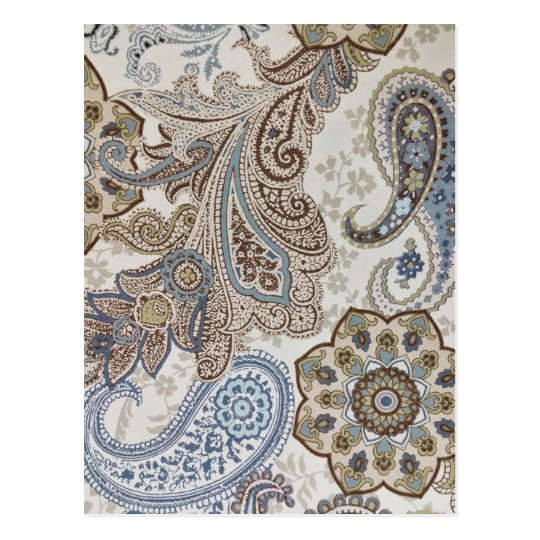Blue and Brown Paisley Pattern Postcard