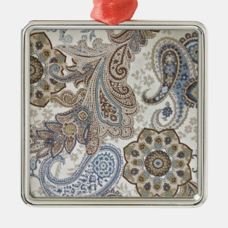 Blue and Brown Paisley Pattern Silver-Colored Square Decoration
