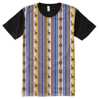 Blue and brown peruvian Llama Pattern All-Over Print T-Shirt