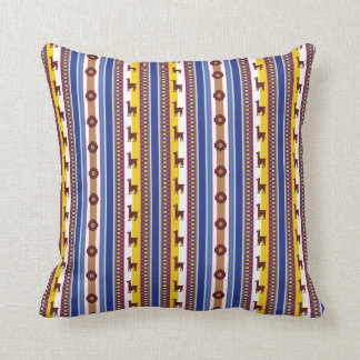 Blue and brown peruvian Llama Pattern Cushion