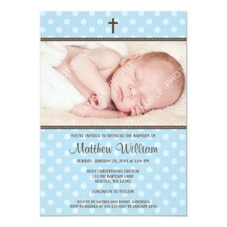 Blue and Brown Polka Dot Cross Boy Photo Baptism 13 Cm X 18 Cm Invitation Card