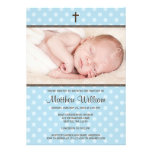 Blue and Brown Polka Dot Cross Boy Photo Baptism Personalised Invites