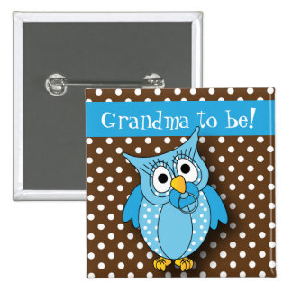 Blue and Brown Polka Dot Owl | Baby Shower Theme 15 Cm Square Badge