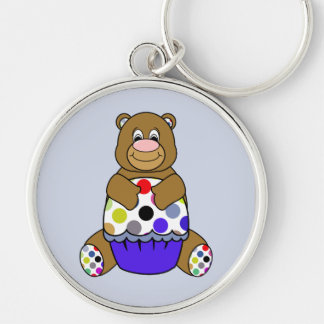 Blue And Brown Polkadot Bear Silver-Colored Round Key Ring