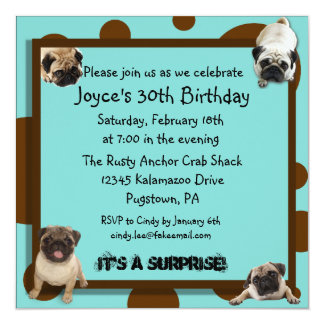 Blue and Brown Pug Invitations