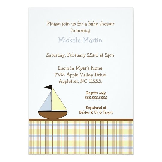 Blue and Brown Sailboat Baby shower invitation