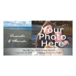 Blue and Brown Sands ~ Beach Wedding Personalised Photo Card