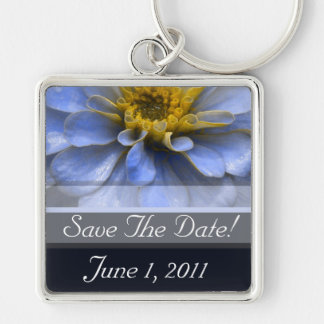 Blue and Brown Silver-Colored Square Key Ring