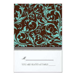 Blue and Brown Swirl Folding Tent  Place Card