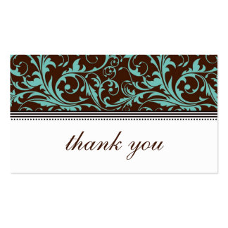Blue and Brown Swirl Thank You Card Business Card Templates