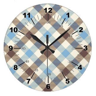 Blue And Brown Tartan plaid Large Clock