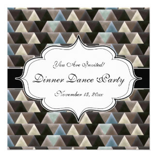 Blue and Brown Velvet Effect Geometric Personalized Announcements
