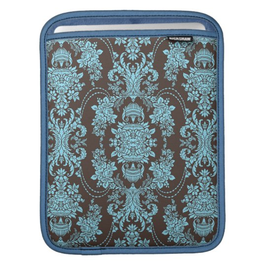 Blue And Brown Vintage Baroque Floral Pattern 2 iPad Sleeve