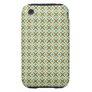 Blue and Brown X Abstract Tough iPhone 3 Cases