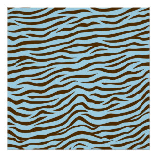 Blue and Brown Zebra Stripes Animal Print