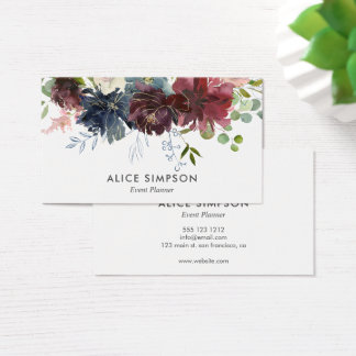 Blue And Burgundy Watercolor Floral Business Card
