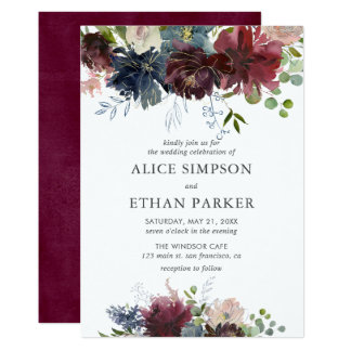 Blue And Burgundy Watercolor Floral Wedding Card