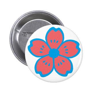 Blue and Burnt Orange Flower Pinback Button