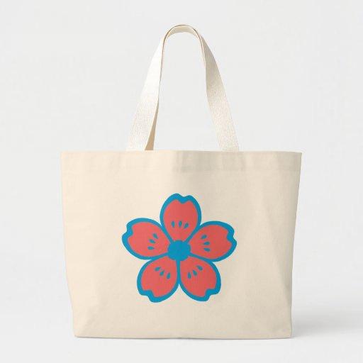 Blue and Burnt Orange Flower Canvas Bags