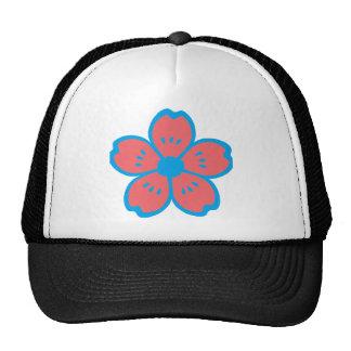 Blue and Burnt Orange Flower Hats