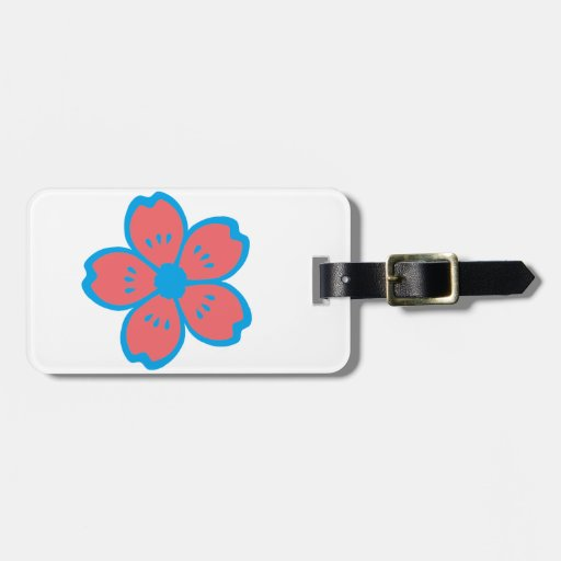 Blue and Burnt Orange Flower Tag For Luggage