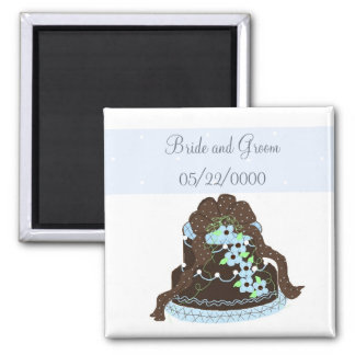 Blue and Chocolate Save the Date Square Magnet