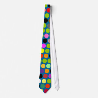 Blue and COlorful Polka dots tie