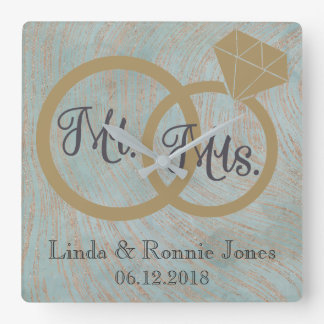 Blue and Copper Mr and Mrs Wedding Square Wall Clock