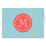 Blue and Coral Chevron with Custom Monogram